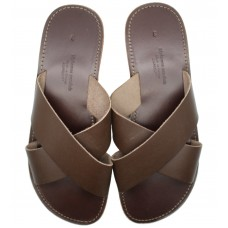 Cross Over Slide Sandal - Brown