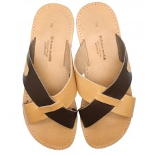 Two Tone Cross Slide Sandal