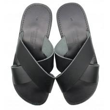 Cross Over Slide Sandal - Black